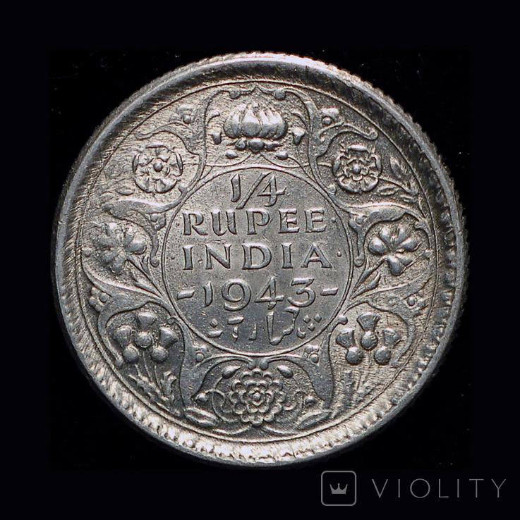 Британская Индия 1/4 рупии 1945 серебро, фото №5