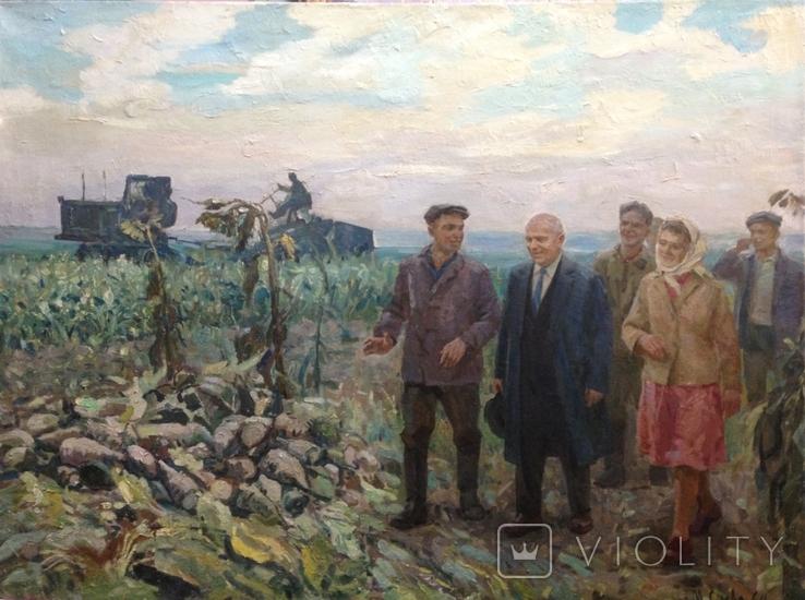 Никита Сергеевич Хрущев в передовой бригаде 1964 год Заслуженный художник УССР, фото №3