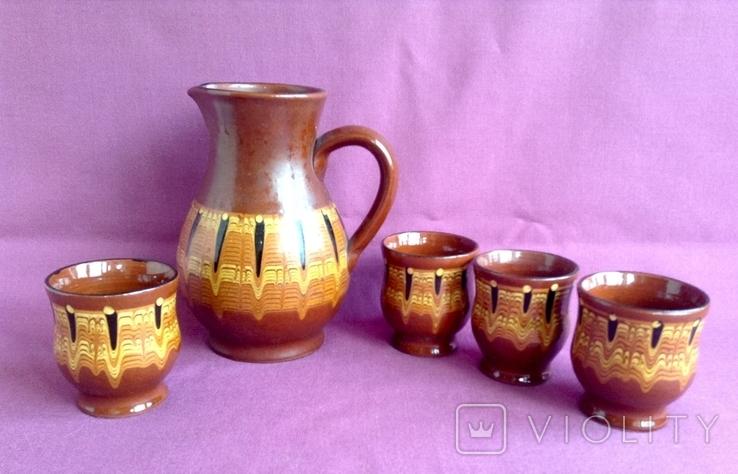 Глечик и чашки. Комплект. Керамика., фото №2