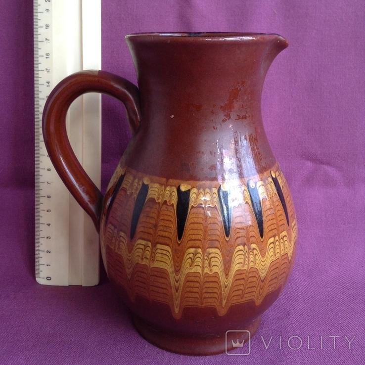 Глечик и чашки. Комплект. Керамика., фото №4
