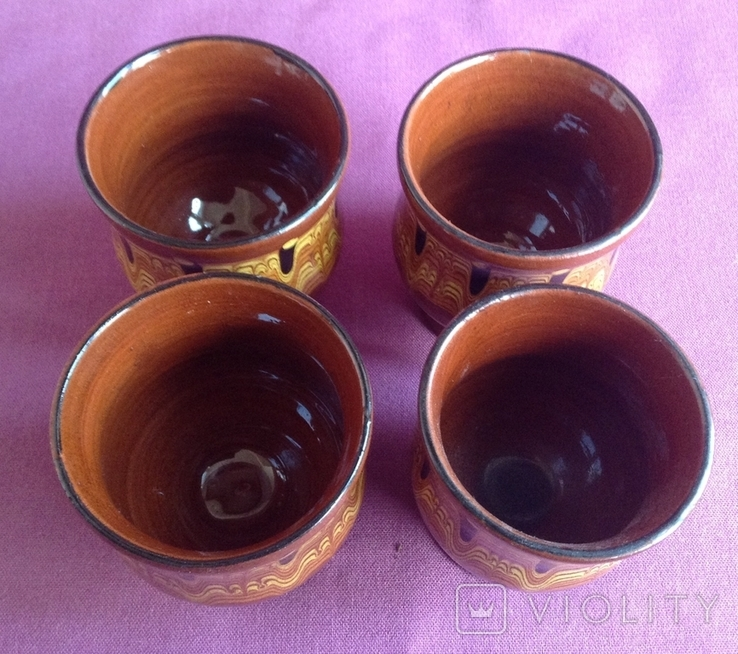 Глечик и чашки. Комплект. Керамика., фото №11