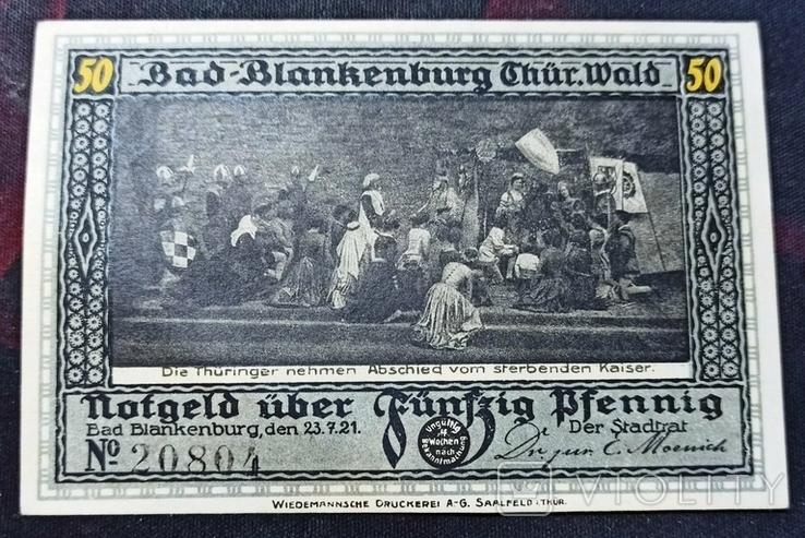 Германия-нотгельд 50 пфенниг 1921 Бланкенбург,Blankenburg,Т73, фото №2