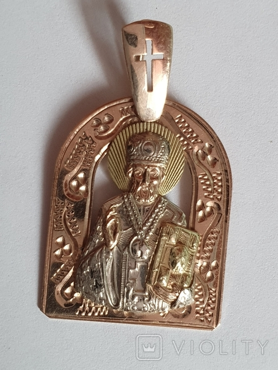 Нательная иконка. Святой Николай. Золото 585 проба. Вес 4.2 г., фото №2