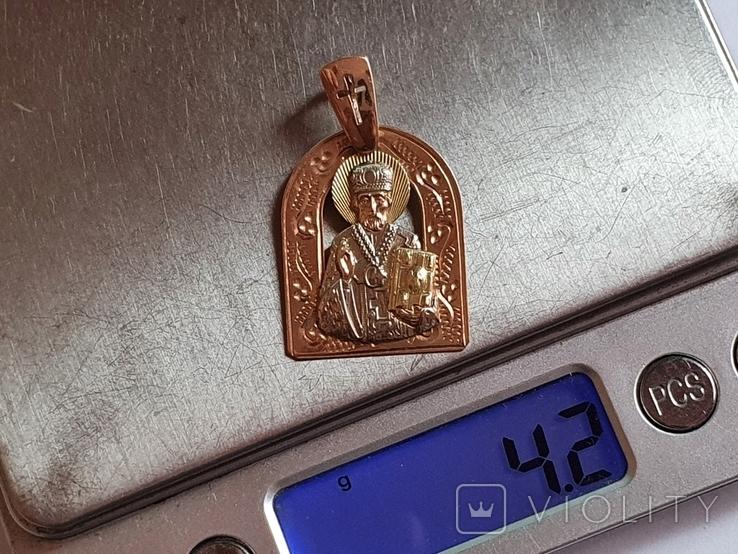 Нательная иконка. Святой Николай. Золото 585 проба. Вес 4.2 г., фото №10