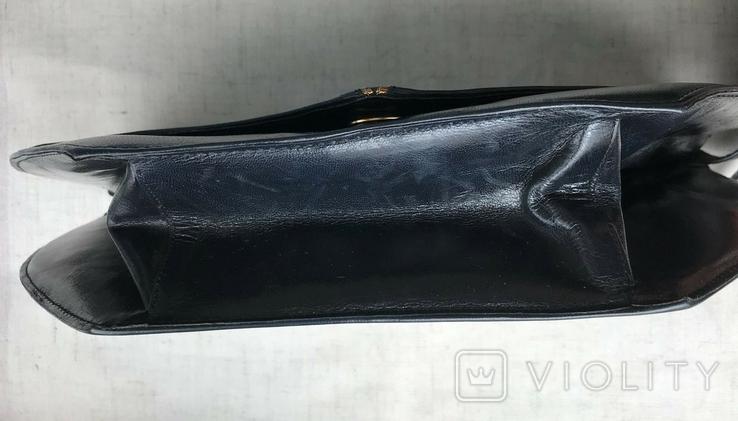Винтажная кожаная сумка, клатч GINA London Темно синий и золотой цвета, фото №5