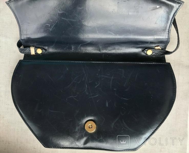 Винтажная кожаная сумка, клатч GINA London Темно синий и золотой цвета, фото №6