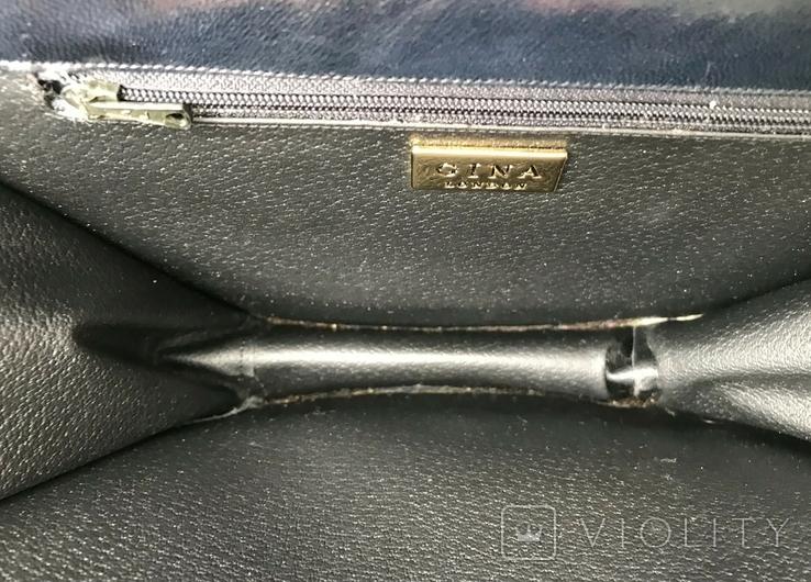 Винтажная кожаная сумка, клатч GINA London Темно синий и золотой цвета, фото №10