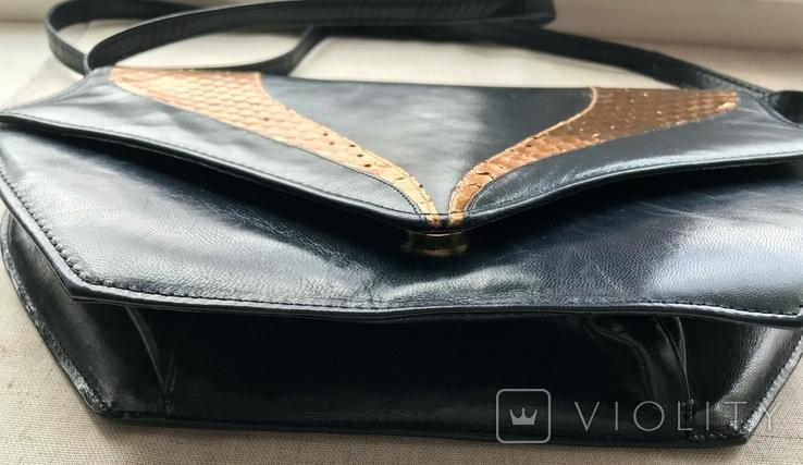 Винтажная кожаная сумка, клатч GINA London Темно синий и золотой цвета, фото №12