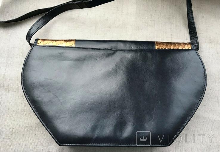 Винтажная кожаная сумка, клатч GINA London Темно синий и золотой цвета, фото №13
