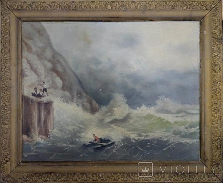 """1900-егг,Нх""""Кораблекрушение"""",фанера.масло,77*92см в раме, фото №2"""