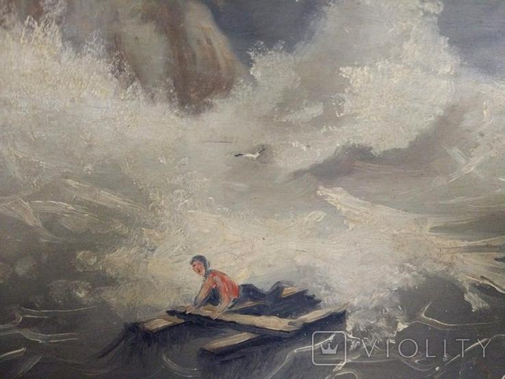 """1900-егг,Нх""""Кораблекрушение"""",фанера.масло,77*92см в раме, фото №6"""