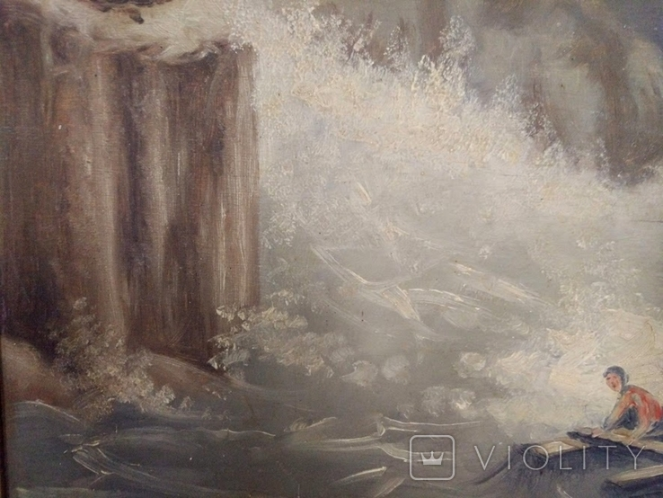 """1900-егг,Нх""""Кораблекрушение"""",фанера.масло,77*92см в раме, фото №9"""