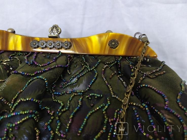 Сумочка в винтажном стиле. Расшивка бисером и стеклярусом. 32х12х20см, фото №5