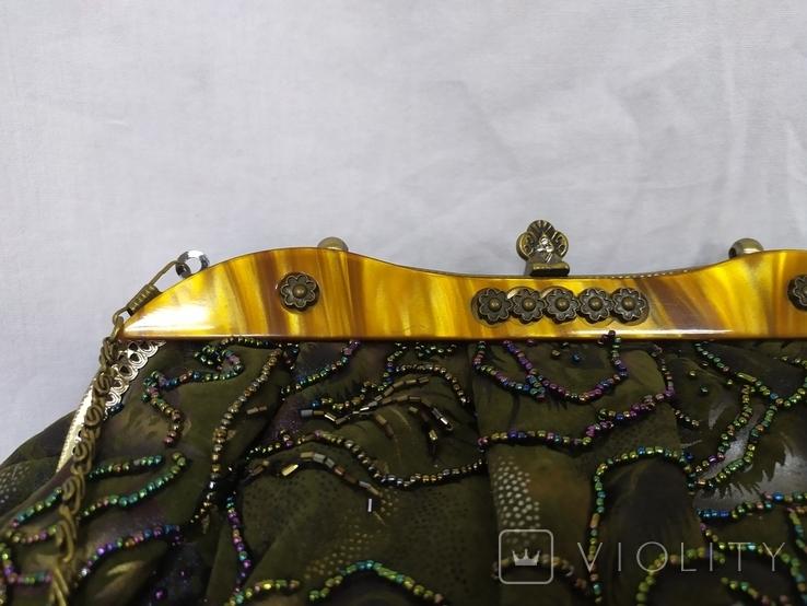 Сумочка в винтажном стиле. Расшивка бисером и стеклярусом. 32х12х20см, фото №6