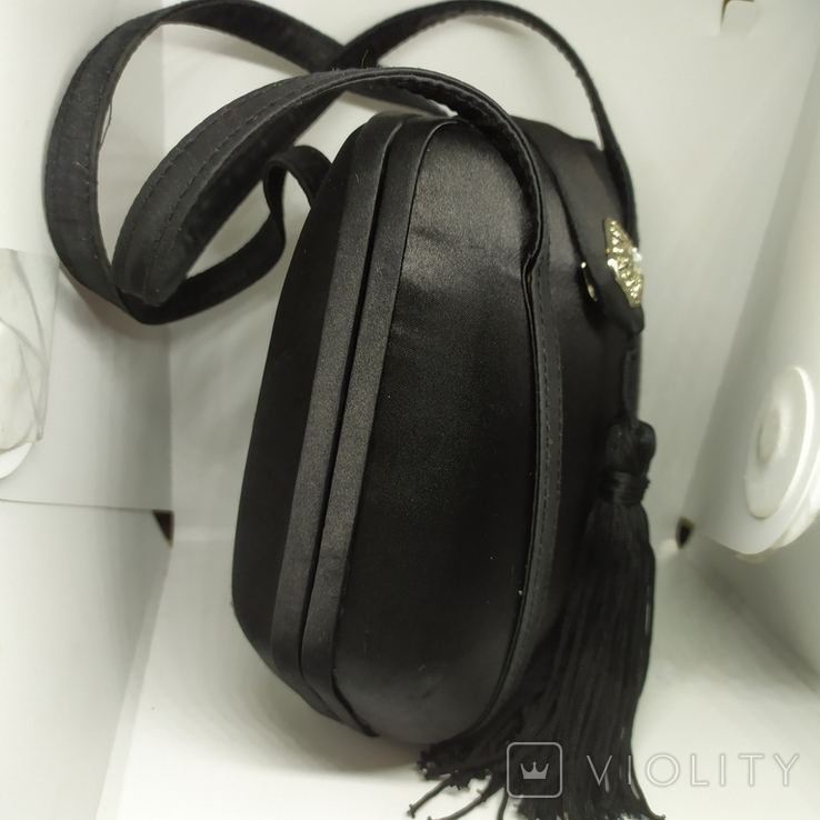 Вечерняя каркасная сумочка обтянутая шелком. Без ручек 16х7х18см, фото №5