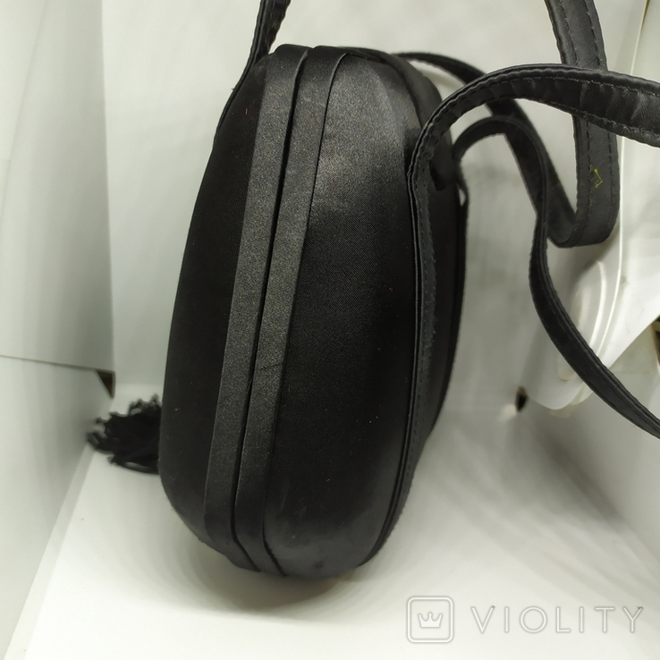 Вечерняя каркасная сумочка обтянутая шелком. Без ручек 16х7х18см, фото №9