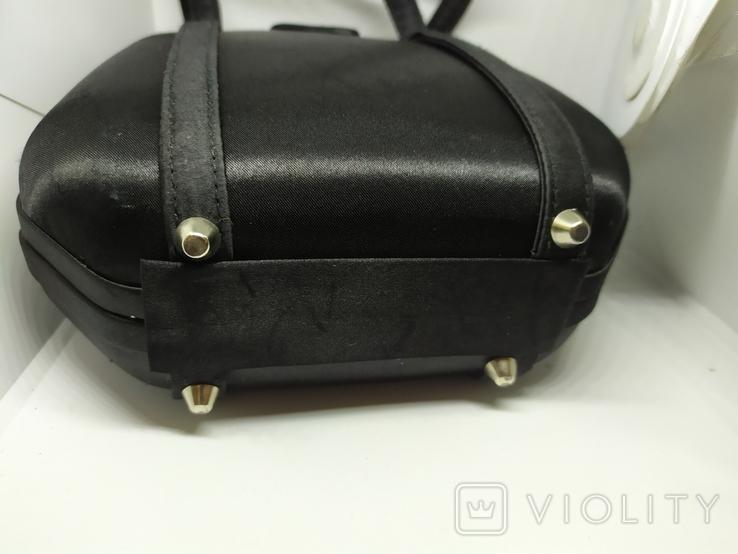 Вечерняя каркасная сумочка обтянутая шелком. Без ручек 16х7х18см, фото №11