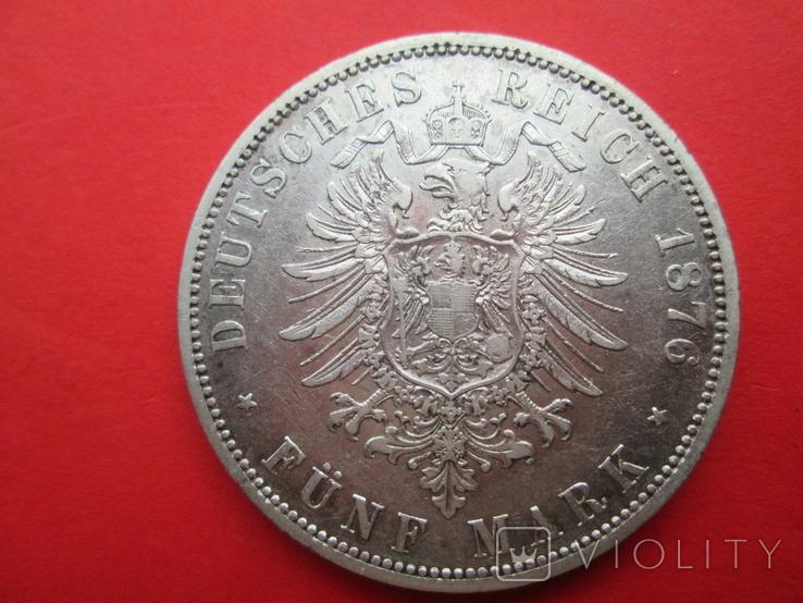 Пруссия 5 марок А 1876 год, фото №3