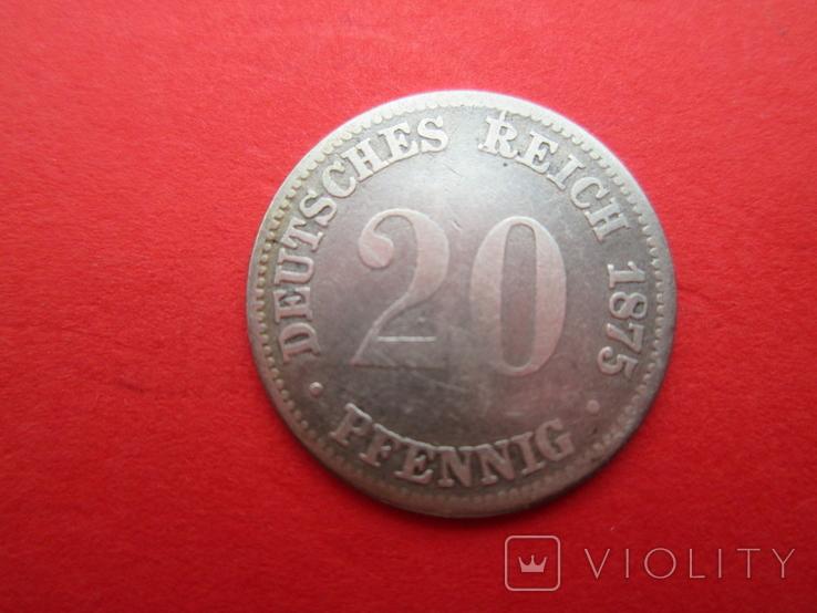 Германия 20 пфенингов A 1875 год, фото №2