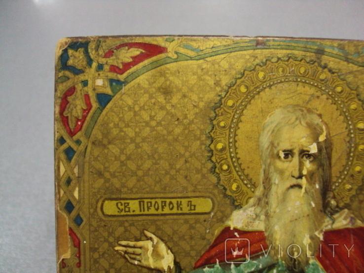 Икона святой пророк Илья дерево литография 18 х 14 см толщина 2 см, фото №6