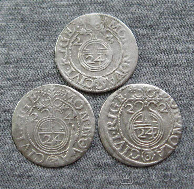1/24 талера 1600-х годов. Густав Адольф. Рига ( 3 штуки )., фото №2
