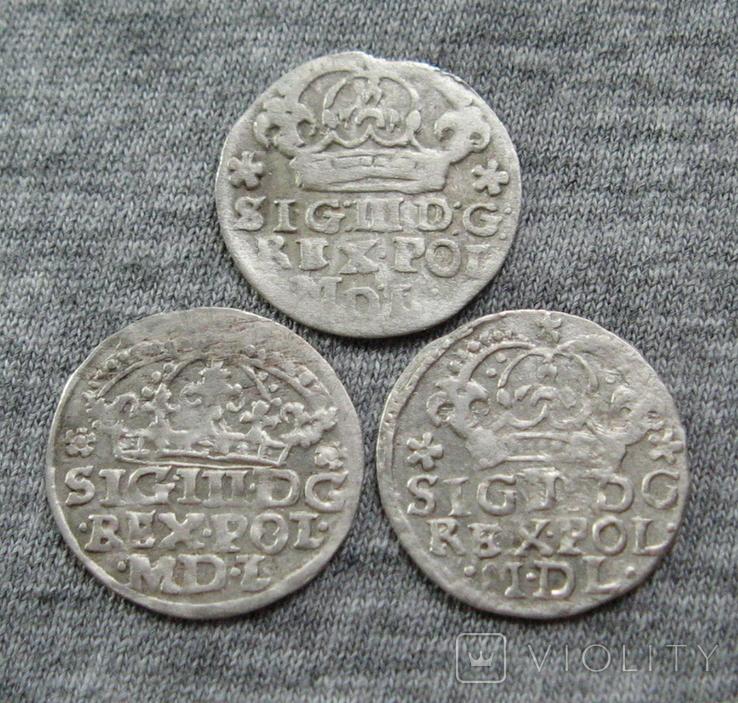 Коронные гроши 1600-х годов. Сиг. ІІІ Ваза ( 3 штуки )., фото №4