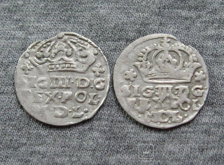 Коронные гроши 1600-х годов. Сиг. ІІІ Ваза ( 2 штуки )., фото №4