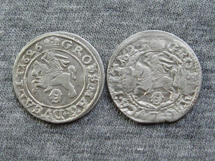 Литовские гроши 1600-х годов. Сиг. ІІІ Ваза ( 2 штуки )., фото №3