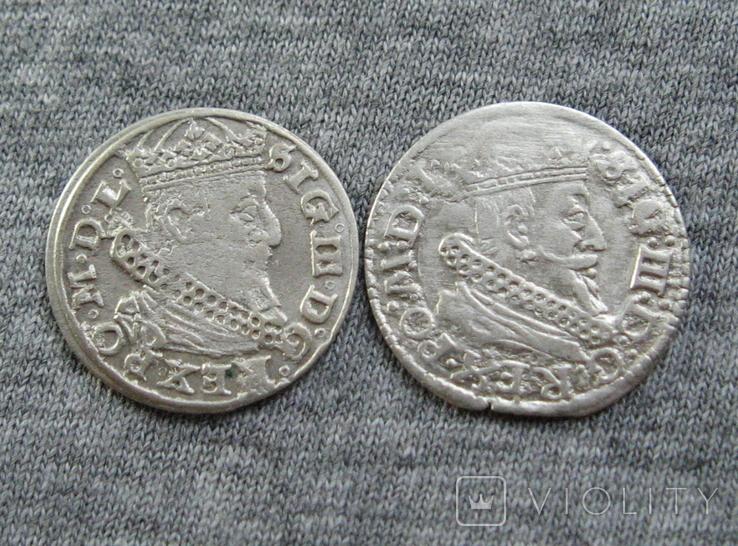 Литовские гроши 1600-х годов. Сиг. ІІІ Ваза ( 2 штуки )., фото №4