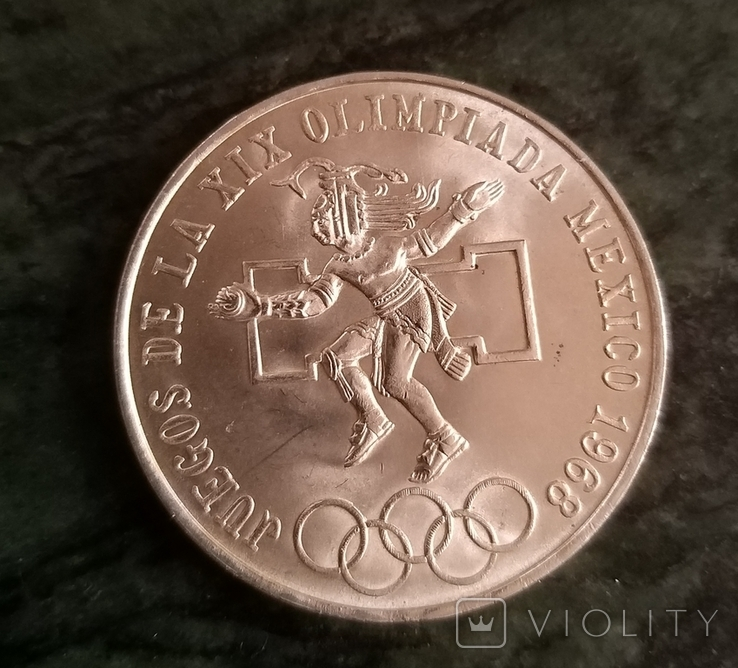 Мексика 25 песо 1968,серебро, фото №2
