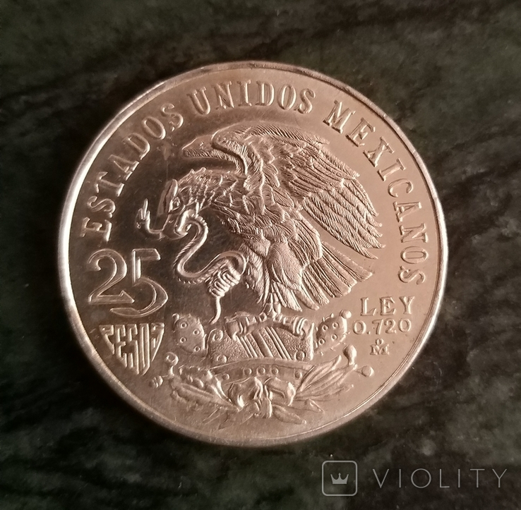 Мексика 25 песо 1968,серебро, фото №3