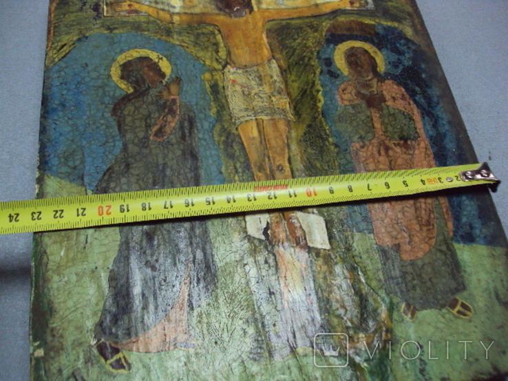 Икона Распятие с предстоящими дерево 27,5 х 23 см, толщина 2 см, фото №5