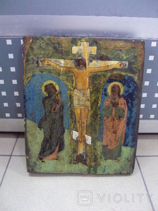 Икона Распятие с предстоящими дерево 27,5 х 23 см, толщина 2 см, фото №2