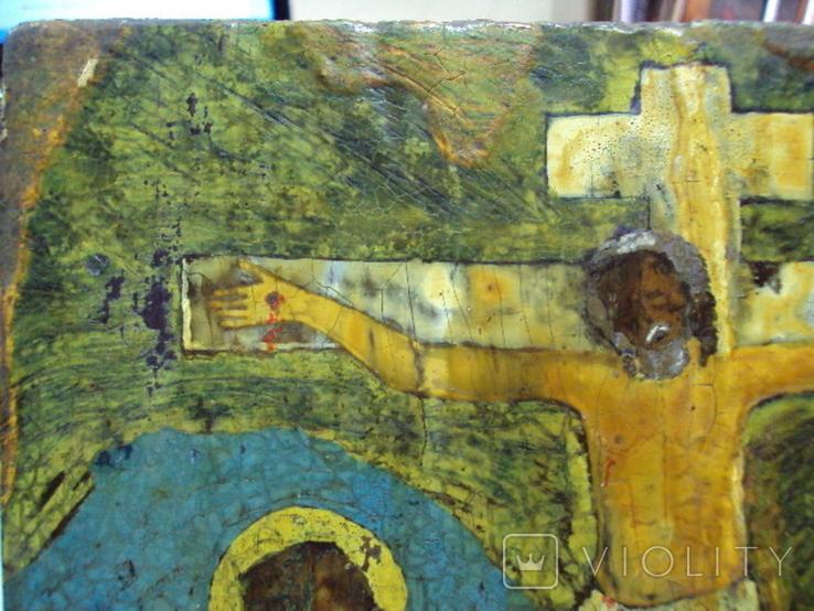 Икона Распятие с предстоящими дерево 27,5 х 23 см, толщина 2 см, фото №7