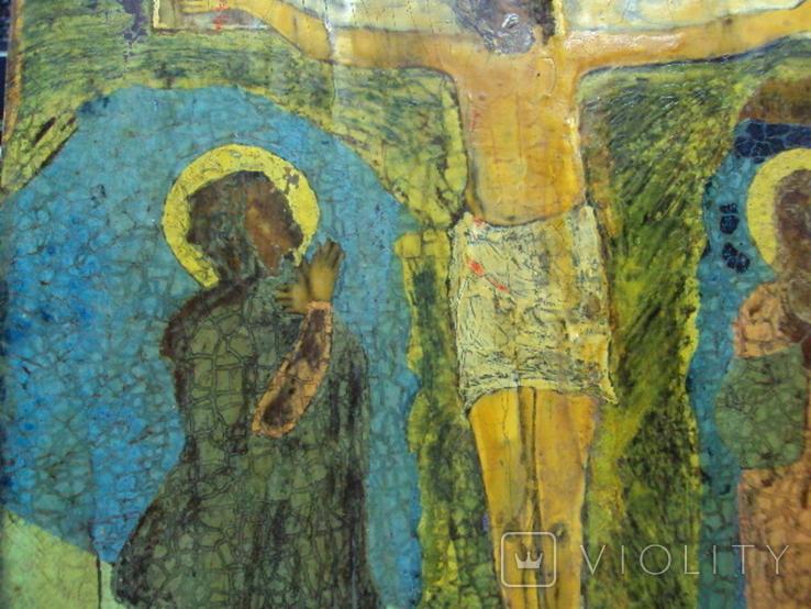 Икона Распятие с предстоящими дерево 27,5 х 23 см, толщина 2 см, фото №8