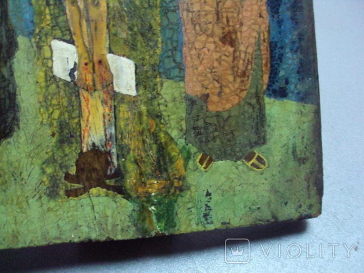 Икона Распятие с предстоящими дерево 27,5 х 23 см, толщина 2 см, фото №10