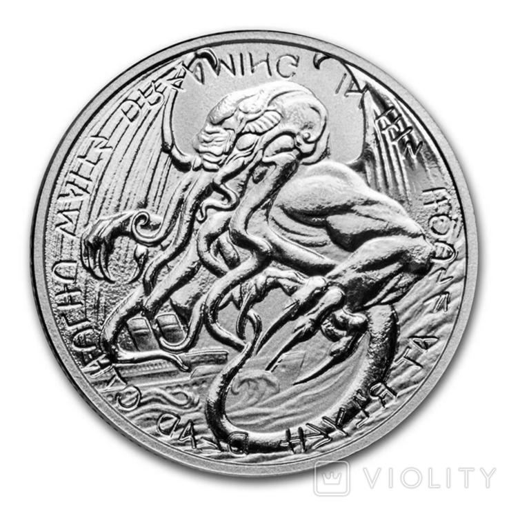 2 Доллара 2021 Ктулху Великий Древний (Серебро 0.999, 31.1г) 1oz, Токелау Унция, фото №2