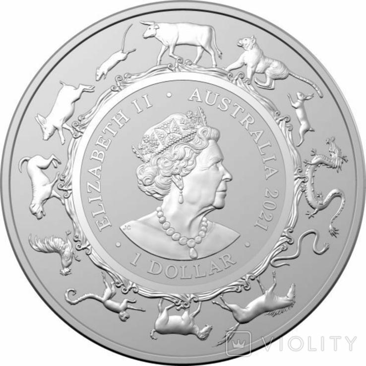 1 Доллар 2021 Лунный календарь - Год быка (Серебро 0.999, 31.1г) 1oz, Австралия Унция, фото №3