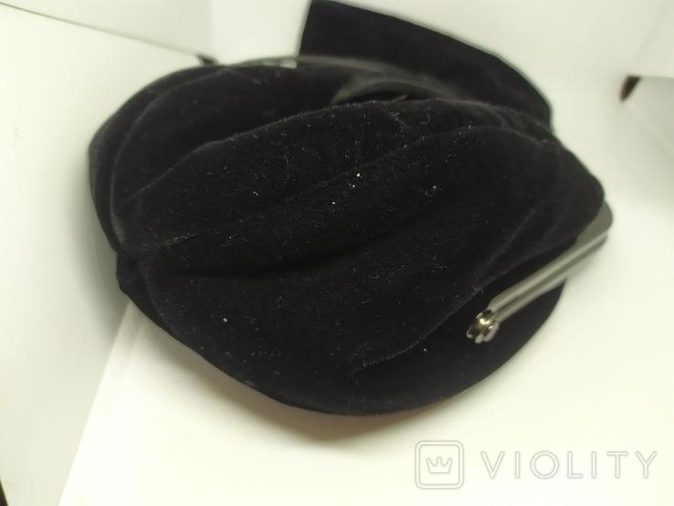 Вечерняя бархатная сумочка с перьями. Высота без ручки 18см. Ширина 12см, фото №4