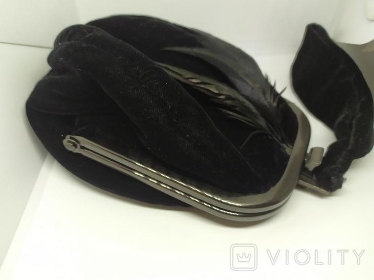 Вечерняя бархатная сумочка с перьями. Высота без ручки 18см. Ширина 12см, фото №5