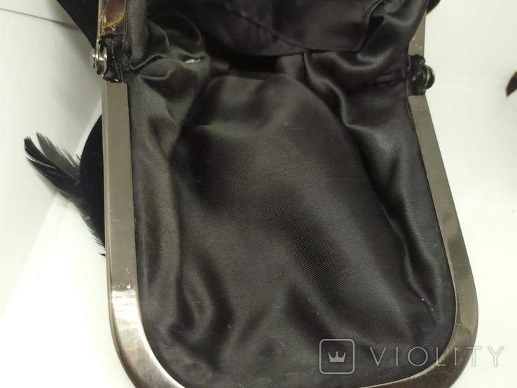 Вечерняя бархатная сумочка с перьями. Высота без ручки 18см. Ширина 12см, фото №10