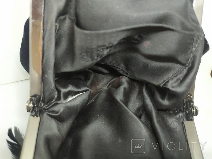 Вечерняя бархатная сумочка с перьями. Высота без ручки 18см. Ширина 12см, фото №12