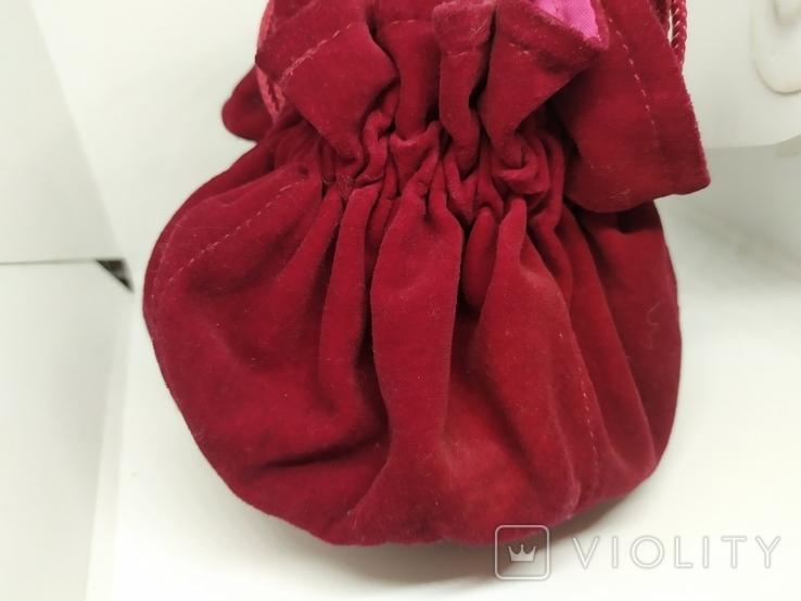 Бархатная сумочка на затяжке. Внутри тоже бархат. Высота 13см, диаметр 13см, фото №3