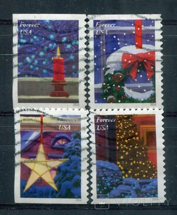 Марки гашеные США Новый год Рождество зима снег праздники