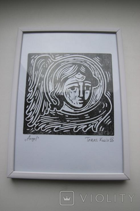 Гравюра Ангел Taras Kuziv 14х19, фото №3
