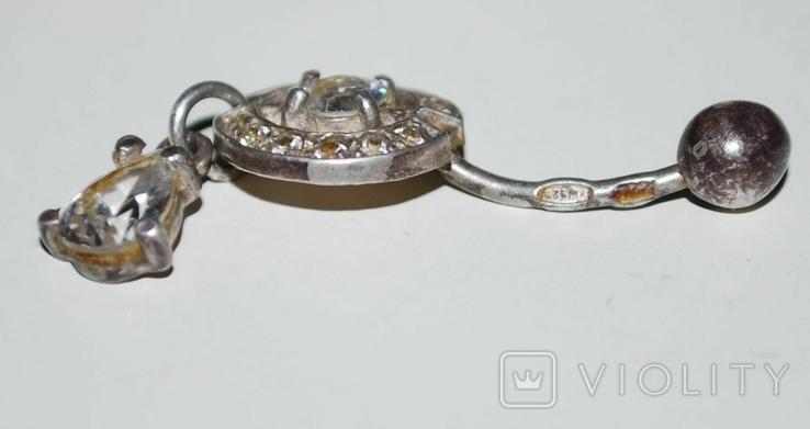 Украшение для пирсинга в подвесом, фианиты/серебро 925 пр. Украина., фото №4