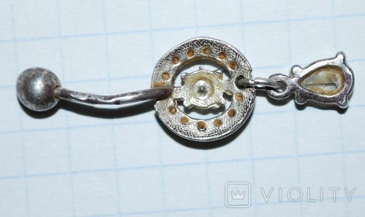 Украшение для пирсинга в подвесом, фианиты/серебро 925 пр. Украина., фото №6
