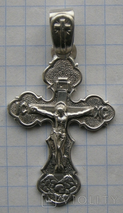 Крестик. Серебро без пробы. Вес - 5,66 г., фото №3