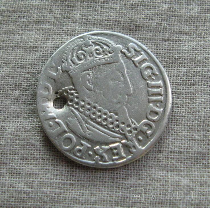 Трояк 1619 года. Сиг. ІІІ Ваза., фото №4