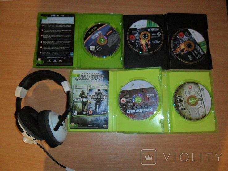 Диски лицензионные и гарнитура на приставку Xbox, фото №2